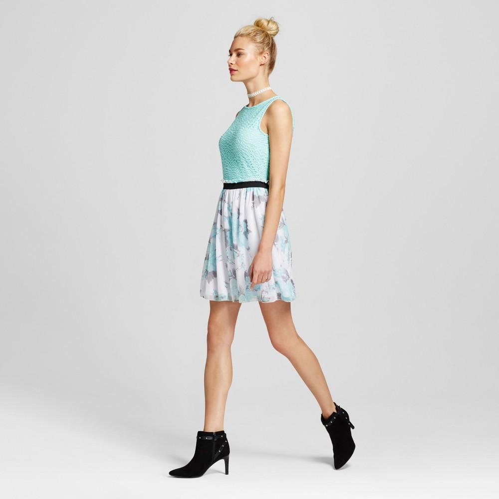Women's Elastic Waist Skater Dress Aqua XS – Lots of Love by Speechless (Juniors'), Blue