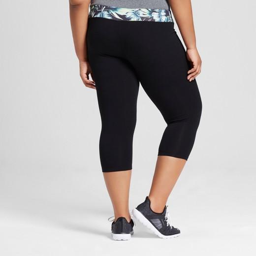 women's plus size capri leggings - ava & viv™ black palm print 4x