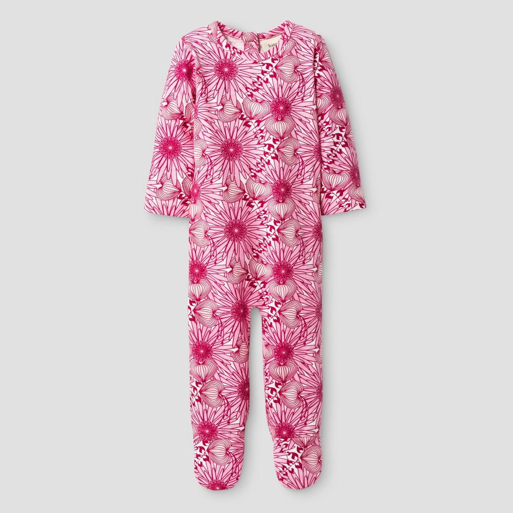 Kate Quinn Organics Baby Girls Bum Flap Footie Jumpsuit - Pink 3-6M, Size: 3-6 M