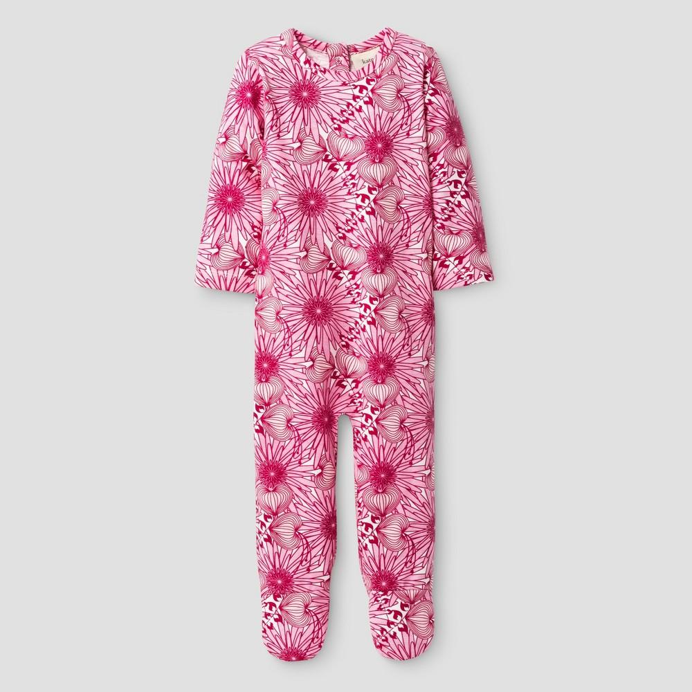 Kate Quinn Organics Baby Girls Bum Flap Footie Jumpsuit - Pink 6-9M, Size: 6-9 M