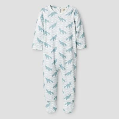 Kate Quinn Organics Baby Boys' Bum Flap Footie Jumpsuit - Blue 3-6M