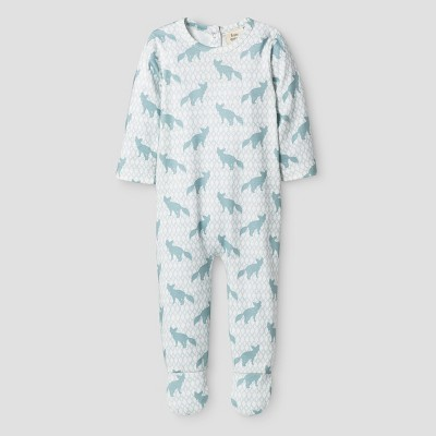 Kate Quinn Organics Baby Boys' Bum Flap Footie Jumpsuit - Blue 6-9M