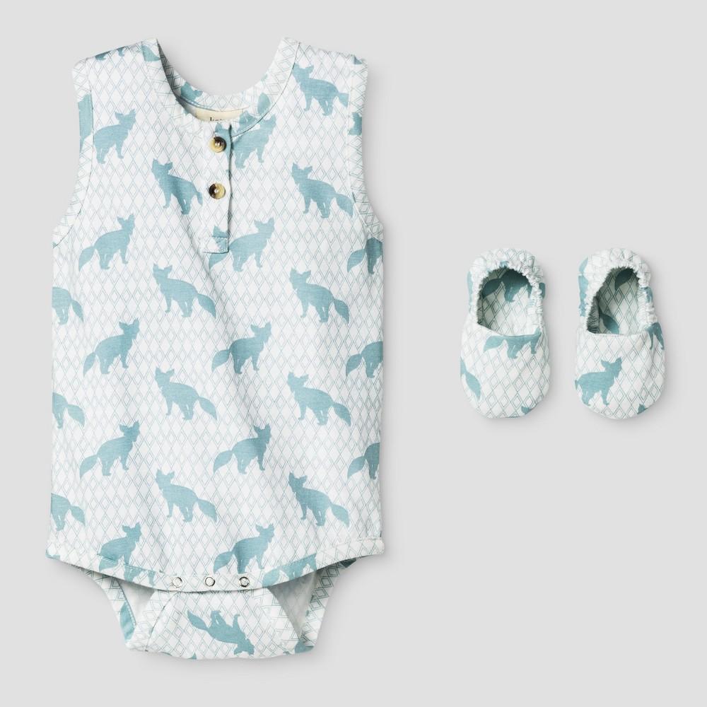 Kate Quinn Organics Baby Boys Racerback Bodysuit & Bootie Set - Blue 12M, Size: 12 M