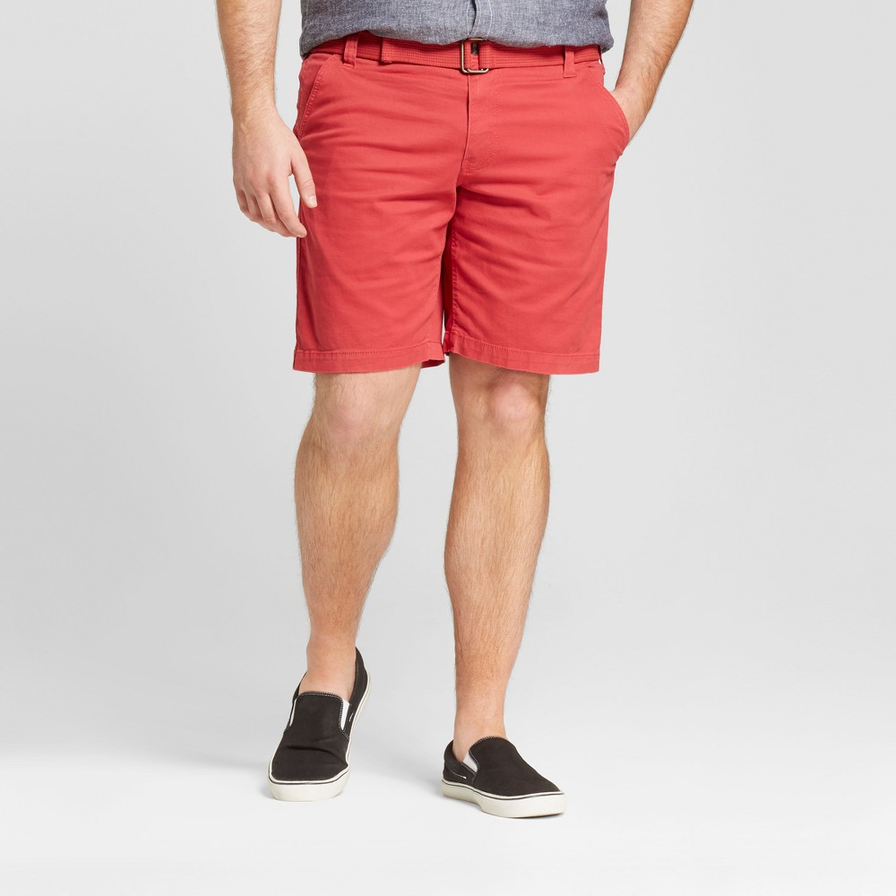 Mens Big & Tall Belted Flat Front Shorts - Mossimo Supply Co. Picante Red 50
