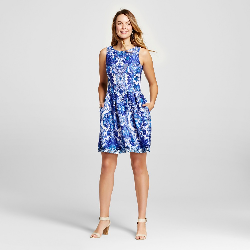 Women's Scroll Printed Fit and Flare Scuba Dress - Blue Combo 12 - Melonie T