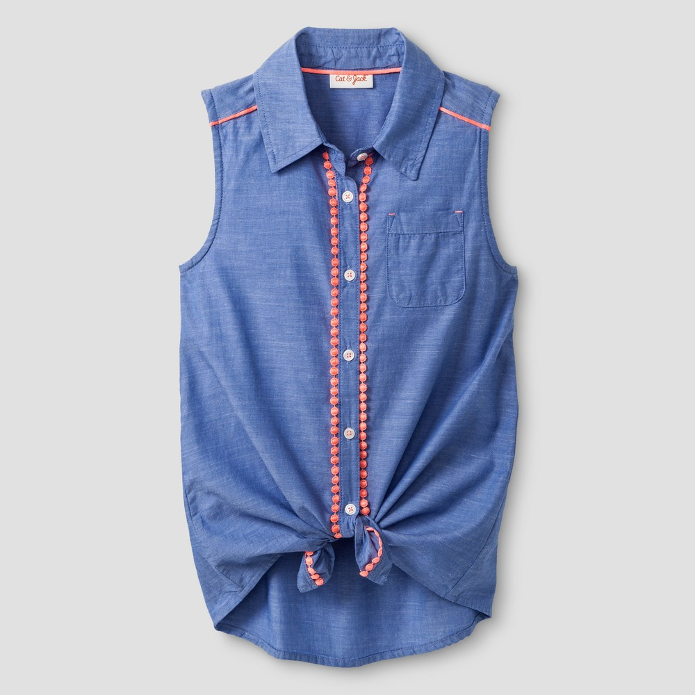 Girls Button Down Tunic Shirt - Cat & Jack Blue XL