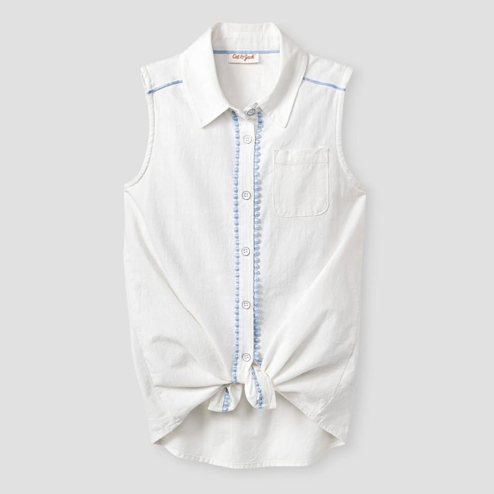 Girls Button Down Tunic Shirt - Cat & Jack White M