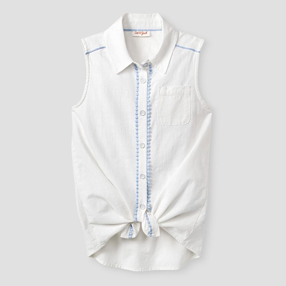 Girls Button Down Tunic Shirt - Cat & Jack White L