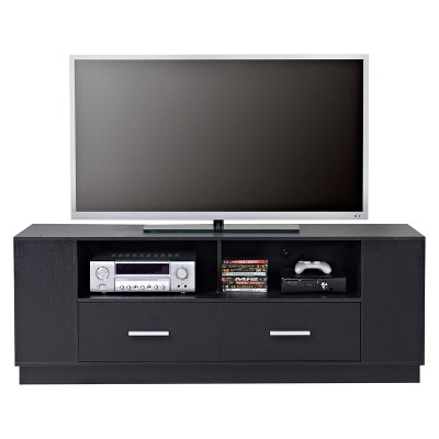 2 Drawer TV Stand In Black - Black - Homestar