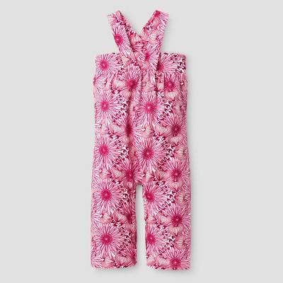 Kate Quinn Organics Baby Girls' Gaucho Jumpsuit - Pink 3-6M