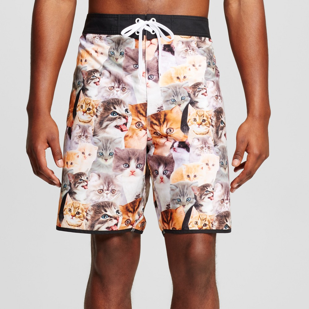 Mens Big & Tall Cat Board Shorts Brown/Gray 3XB