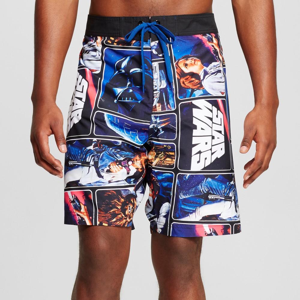 Men's Big & Tall Star Wars Collage Board Shorts Black 4XB