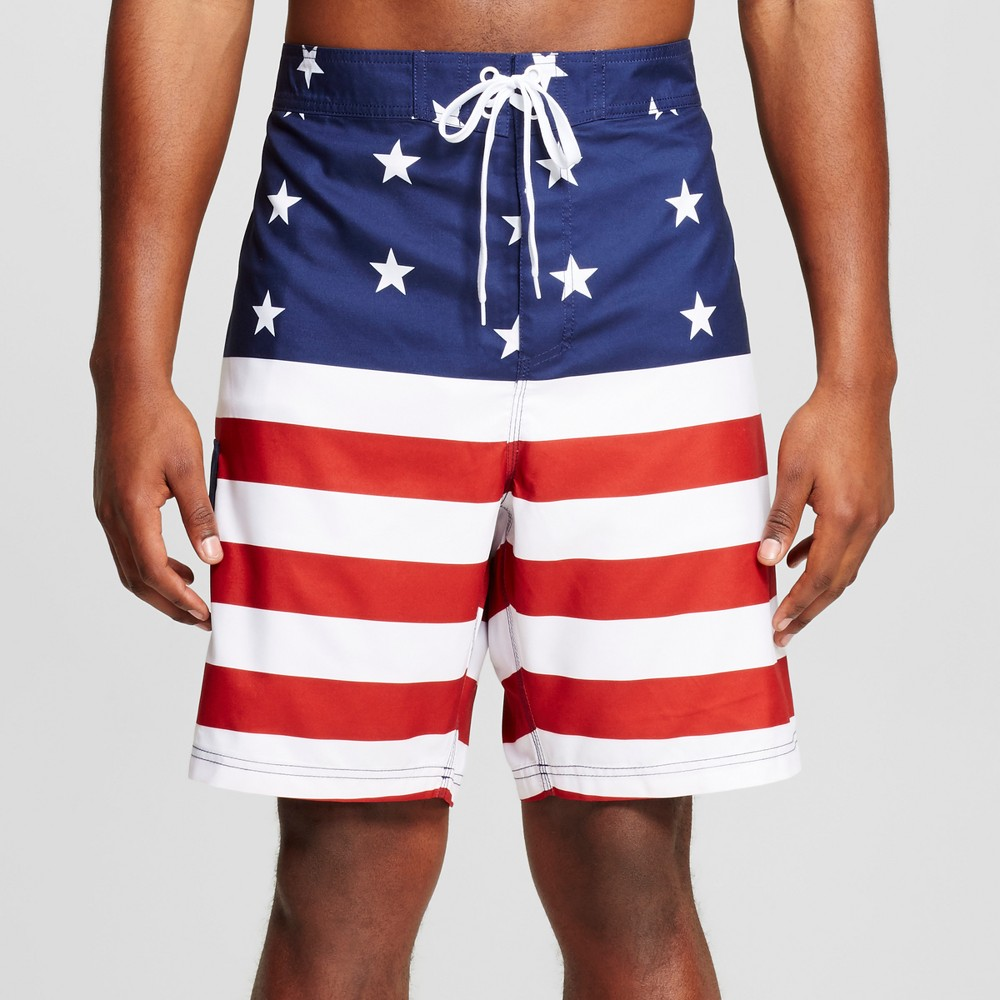 Mens Big & Tall Americana Flag Board Shorts Red/White/Blue 3XB, Multicolored