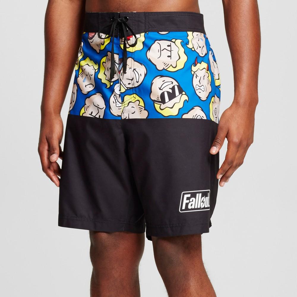 Mens Big & Tall Fallout Board Shorts 2XB, Black