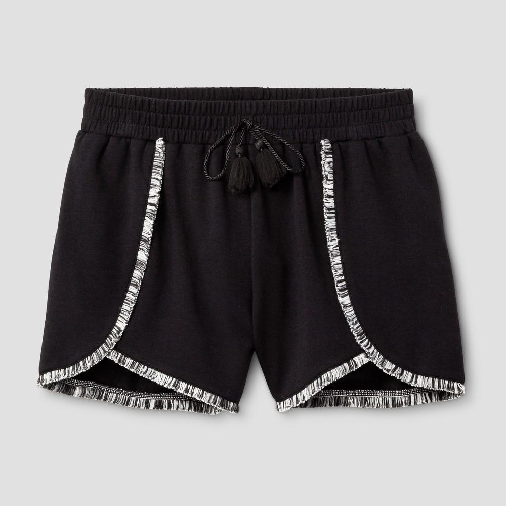 Girls Fringe Knit Shorts - Art Class Black L