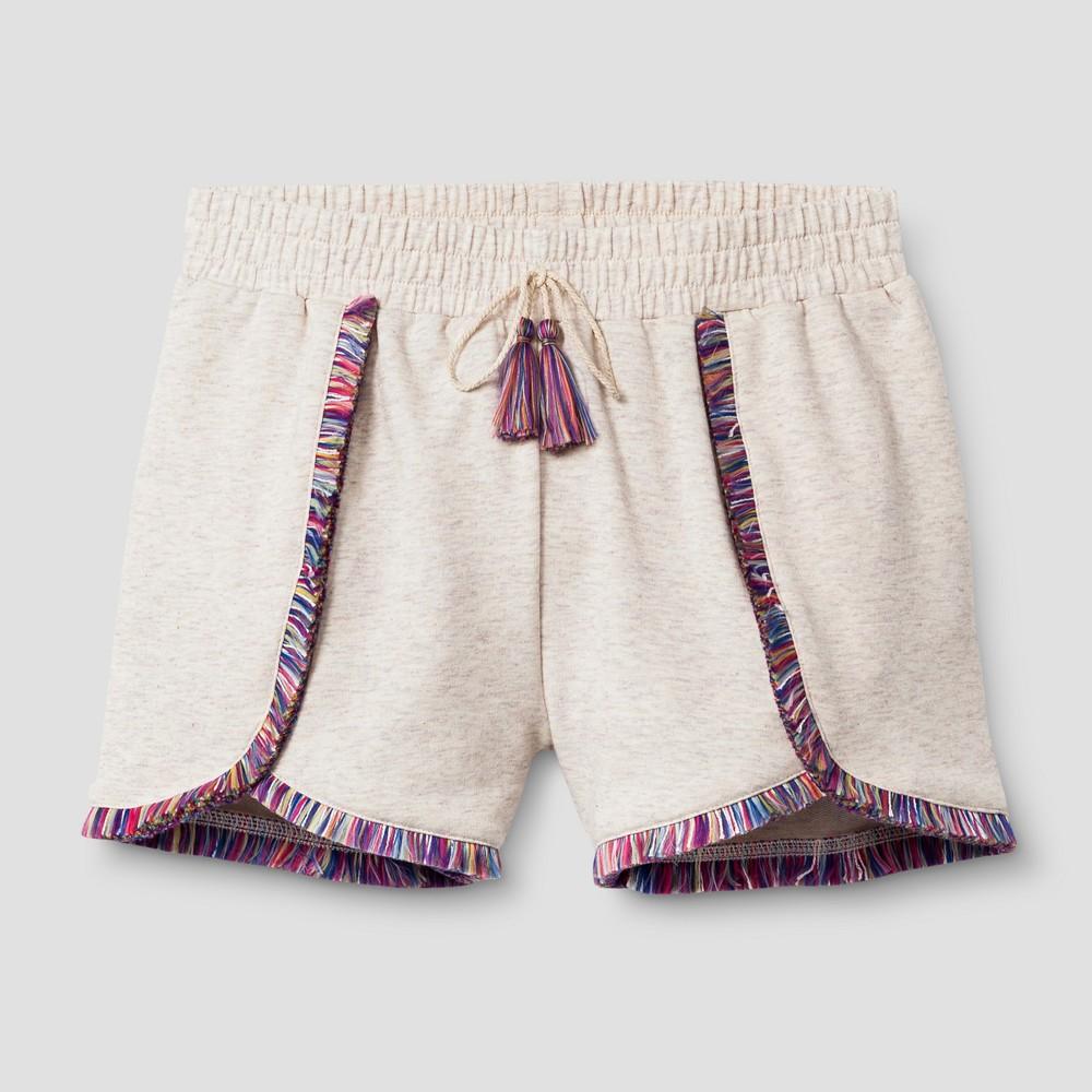 Girls Fringe Knit Shorts - Art Class Heathered Oatmeal XS