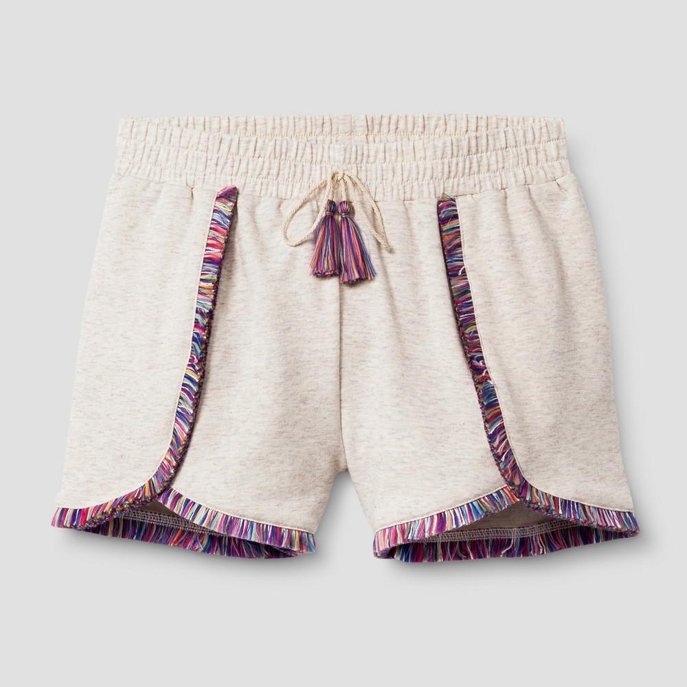 Girls Fringe Knit Shorts - Art Class Heathered Oatmeal M
