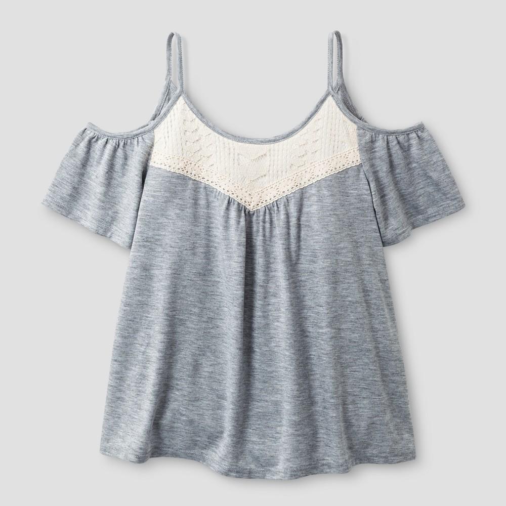 Girls Short Sleeve Knit Top - Art Class Heather Gray L