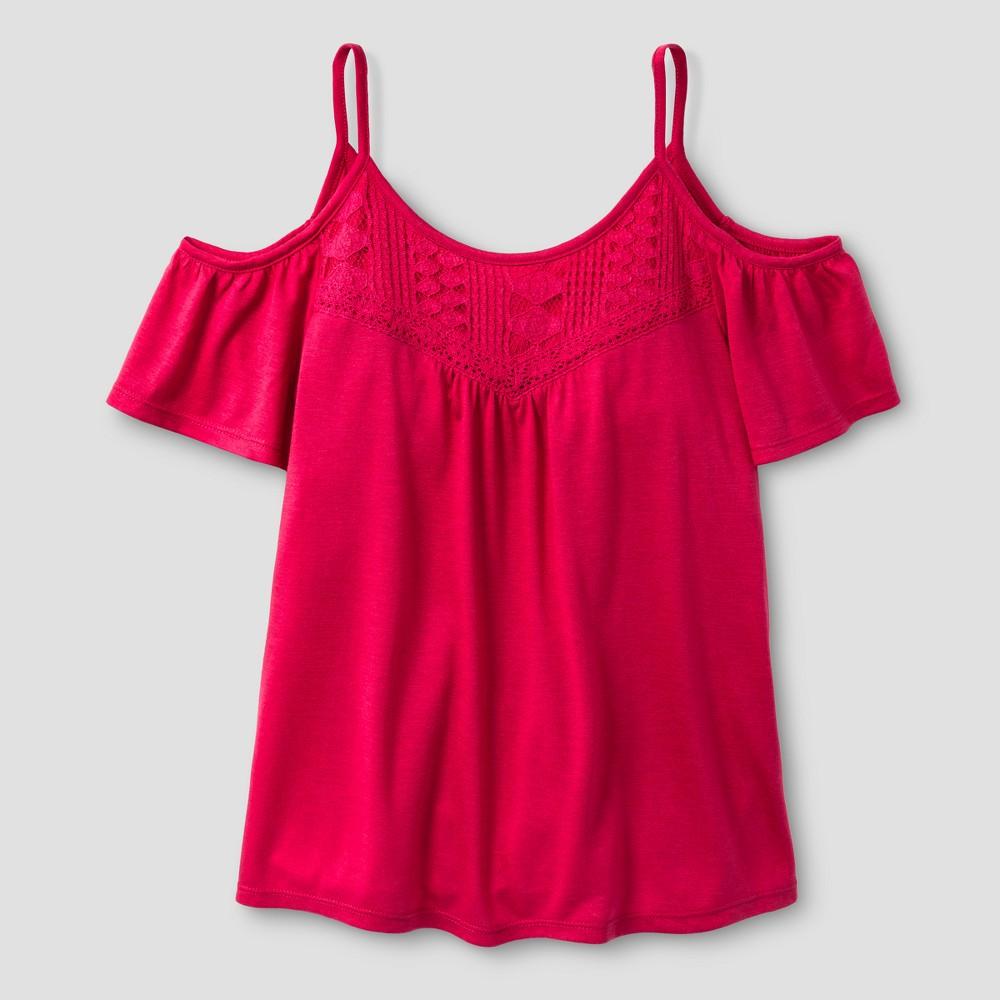 Girls Short Sleeve Knit Top - Art Class Fuchsia Red L, Fuschia Red