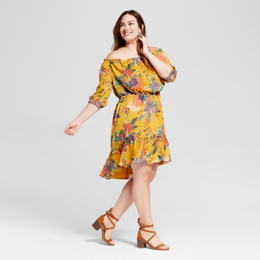 Women\'s Plus Size Off The Shoulder Floral Dress Yellow - Ava & Viv ...