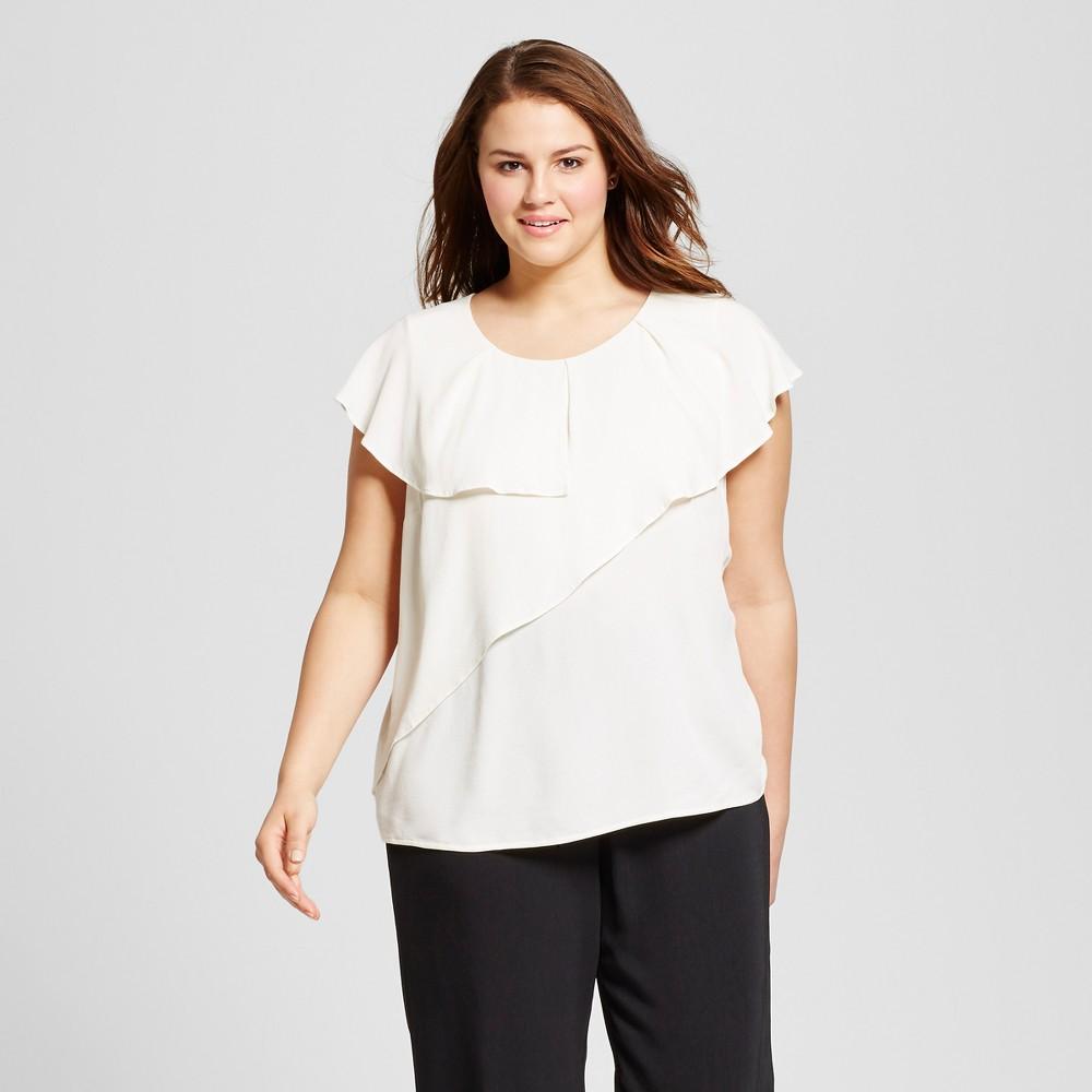 Womens Plus Size Asymmetric Ruffle Shell - Who What Wear Cream (Ivory) 2X