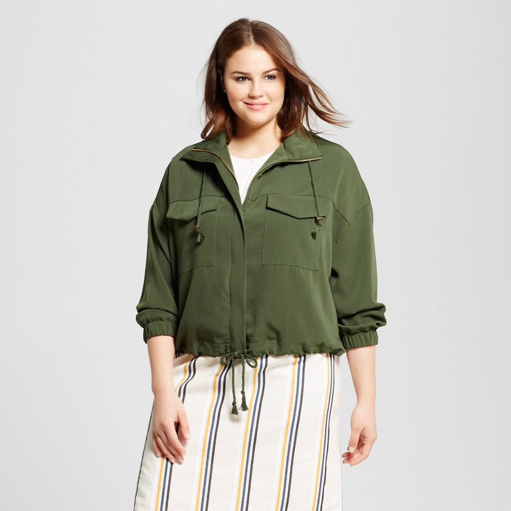 Womens Plus Size Slouchy Bomber Jacket - Who What Wear Olive (Green) 3X