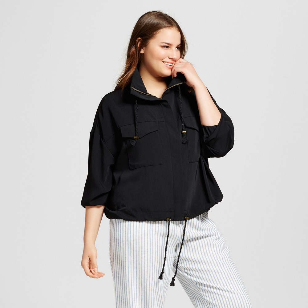 Womens Plus Size Slouchy Bomber Jacket - Who What Wear Black X