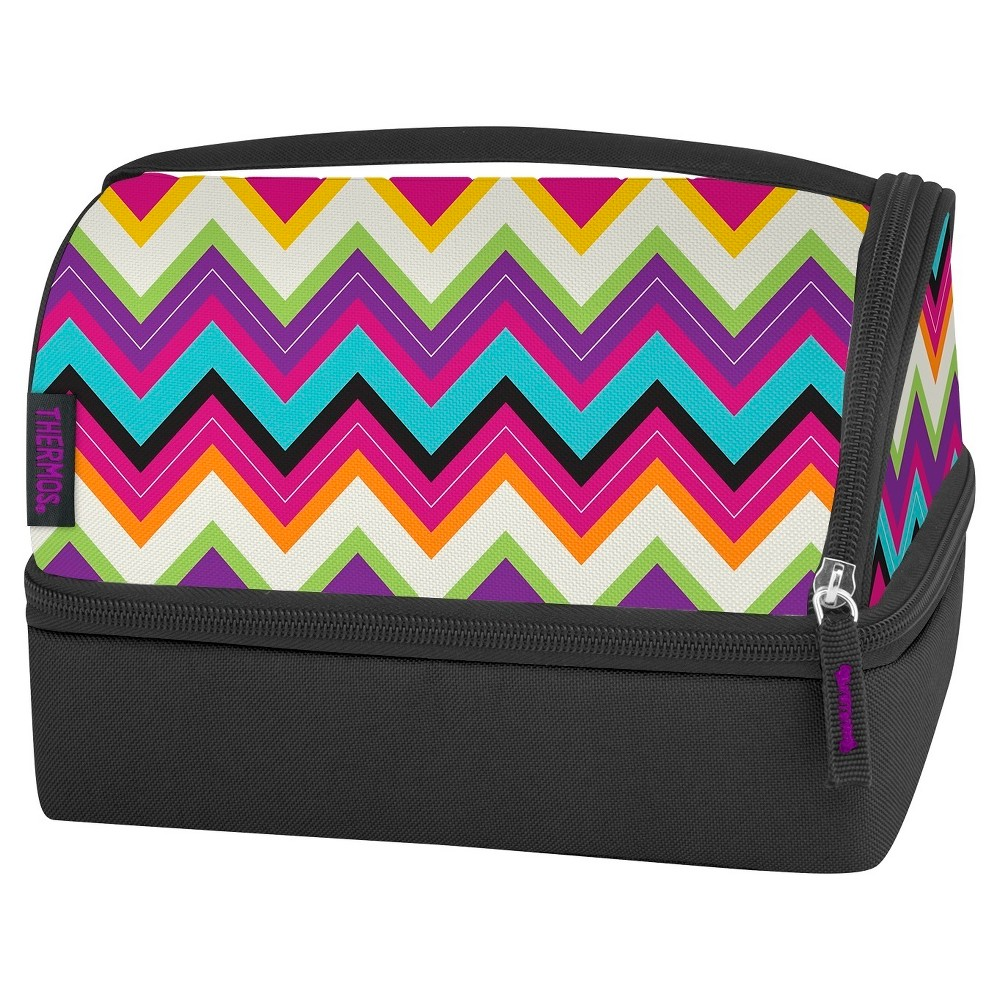 Thermos Zig Zag Lunch Box with Container, Blue Find Picnic and Lunch Box Sets at Target.com! The Genuine Thermos Brand Lunch Bag with Pack-In combo makes bringing a homemade, healthy lunch a breeze. Fill the box with your favorites and store in the bottom portion of the cooler. The top compartment is ideal for holding your other favorite food items or a beverage bottle. Includes a set of utensils. Color: Blue. Pattern: Zig Zag.