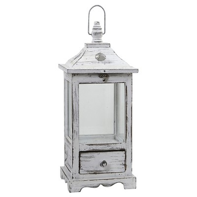 Distressed Wooden Lantern with Drawer - Nearly Natural
