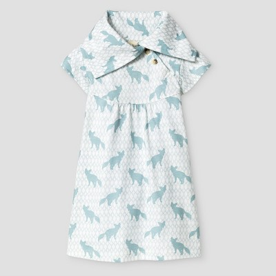 Kate Quinn Organics Baby Flutter Sleeve Play Dress - Blue 12M