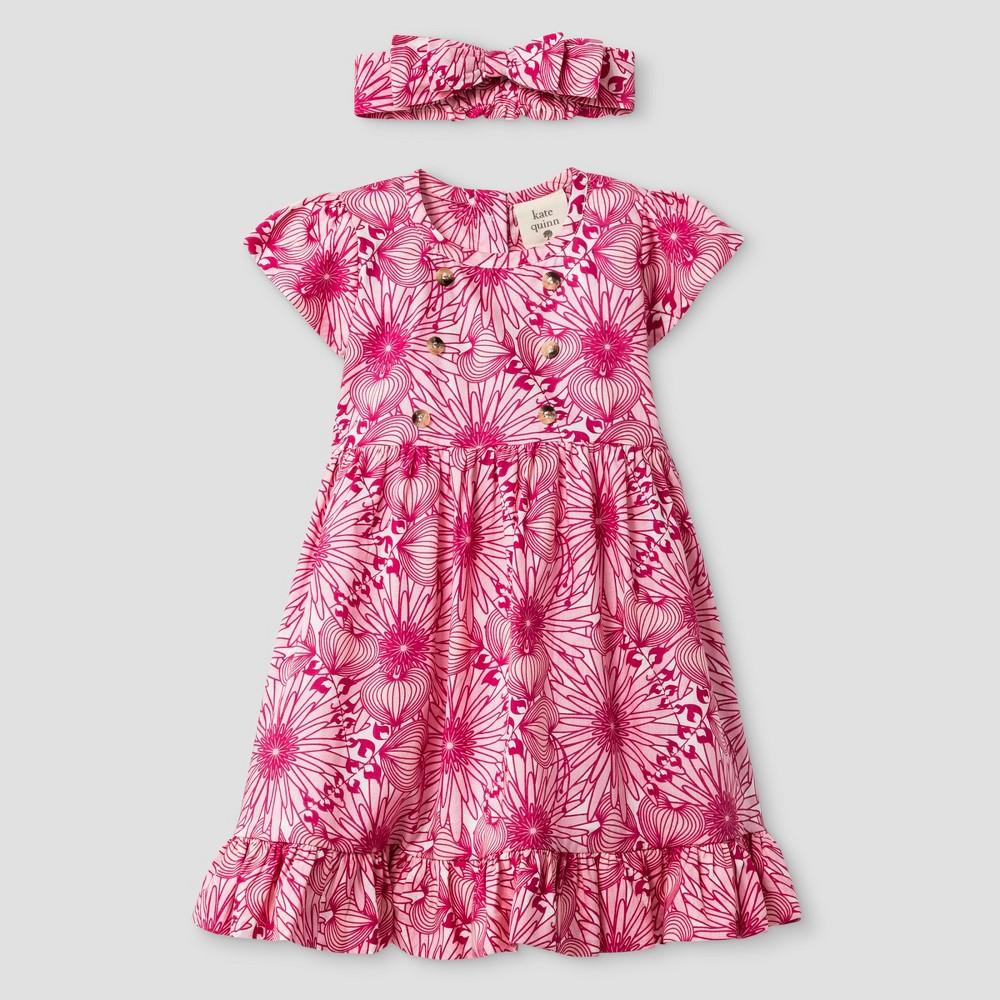 Kate Quinn Organics Baby Girls Flutter Sleeve Dress & Headband Set - Pink 12M, Size: 12 M