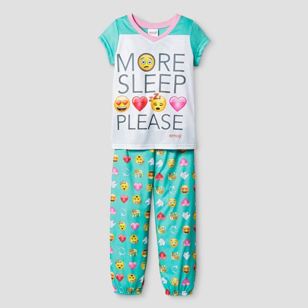 Girls Emoji Pajama Set - Green M
