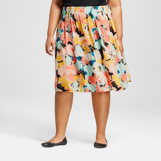 Women's Plus Size Pleated Midi Skirt Multi Floral - Ava & Viv ...