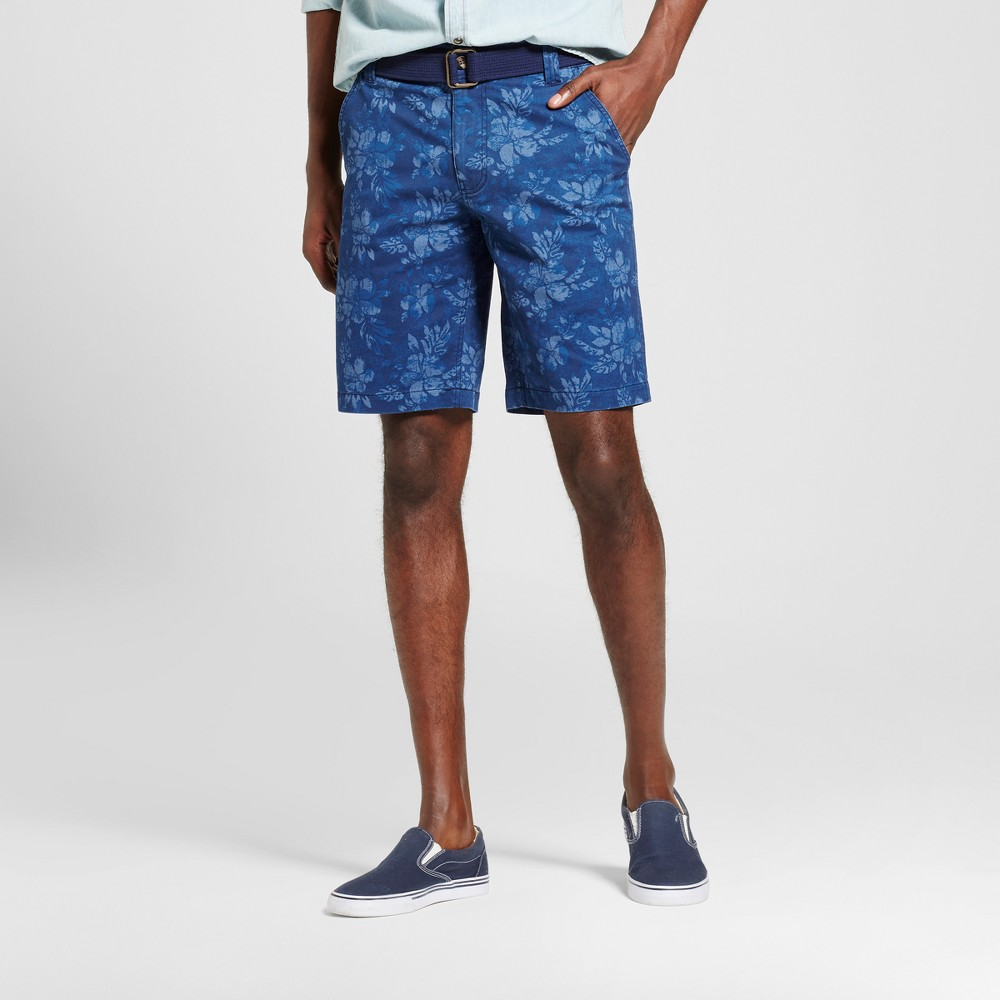 Mens Belted Flat Front Shorts with Stretch - Mossimo Supply Co. Navy Floral 28, Blue