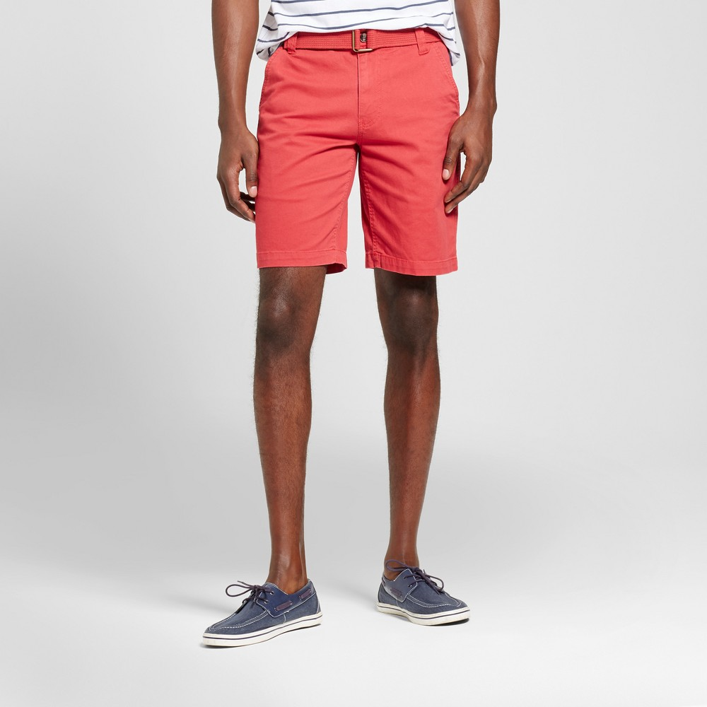 Mens Belted Flat Front Shorts with Stretch - Mossimo Supply Co. Red 28, Picante Red