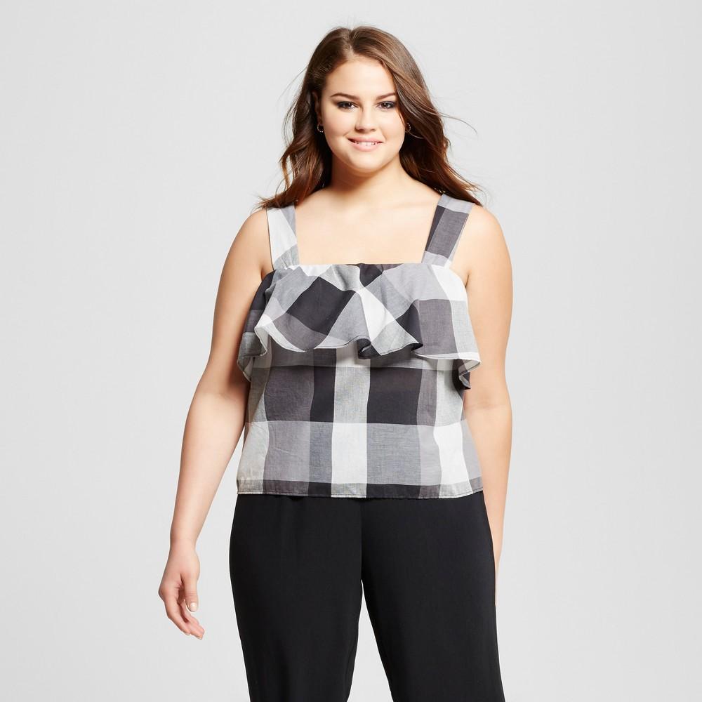 Womens Plus Size Ruffle Tank - Who What Wear Black Plaid 2X