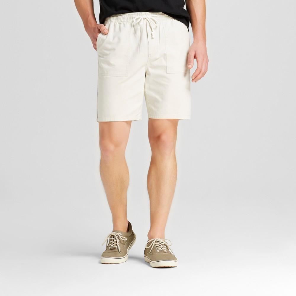 Mens Elastic Waist Jogger Shorts - Merona Tan L