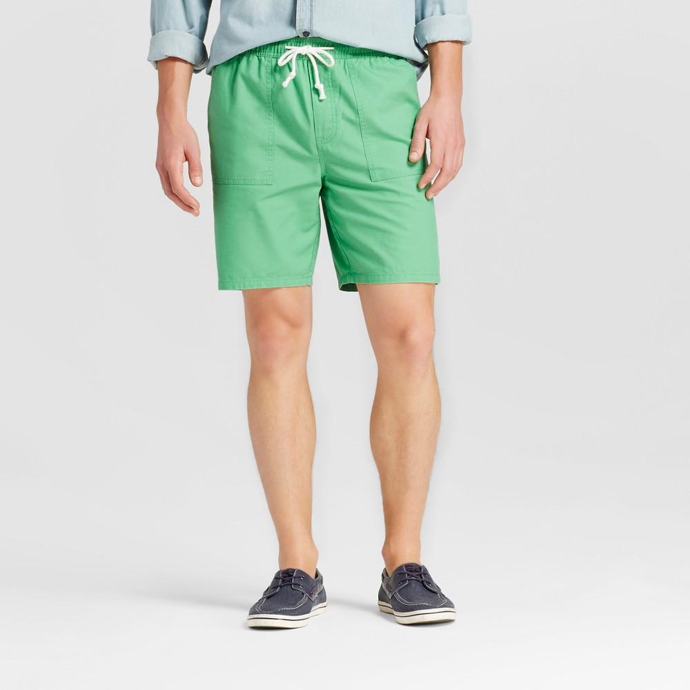 Mens Elastic Waist Jogger Shorts - Merona Green M