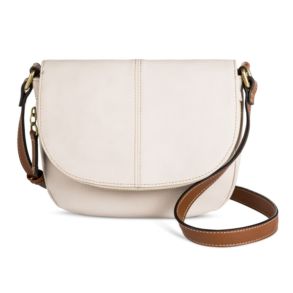 Womens Tunnel Flap Crossbody Handbag - Merona White Blush