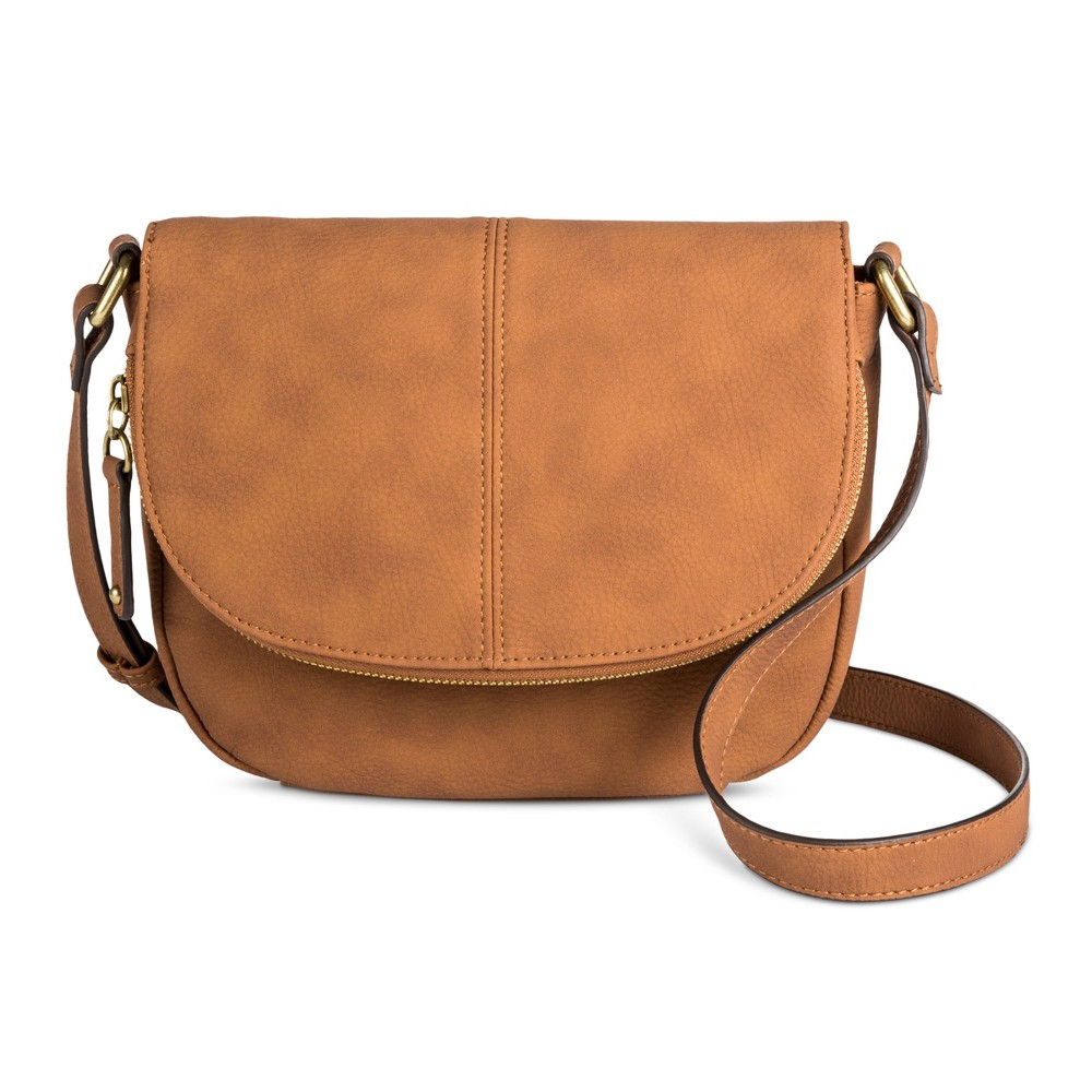 Womens Tunnel Flap Crossbody Handbag - Merona Butternut Wood
