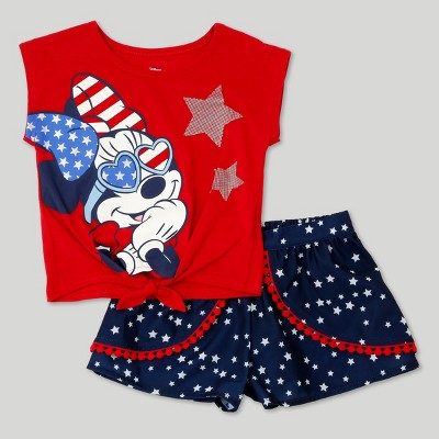 Toddler Girls' Minnie Mouse Top And Bottom Set Disney Red 12M