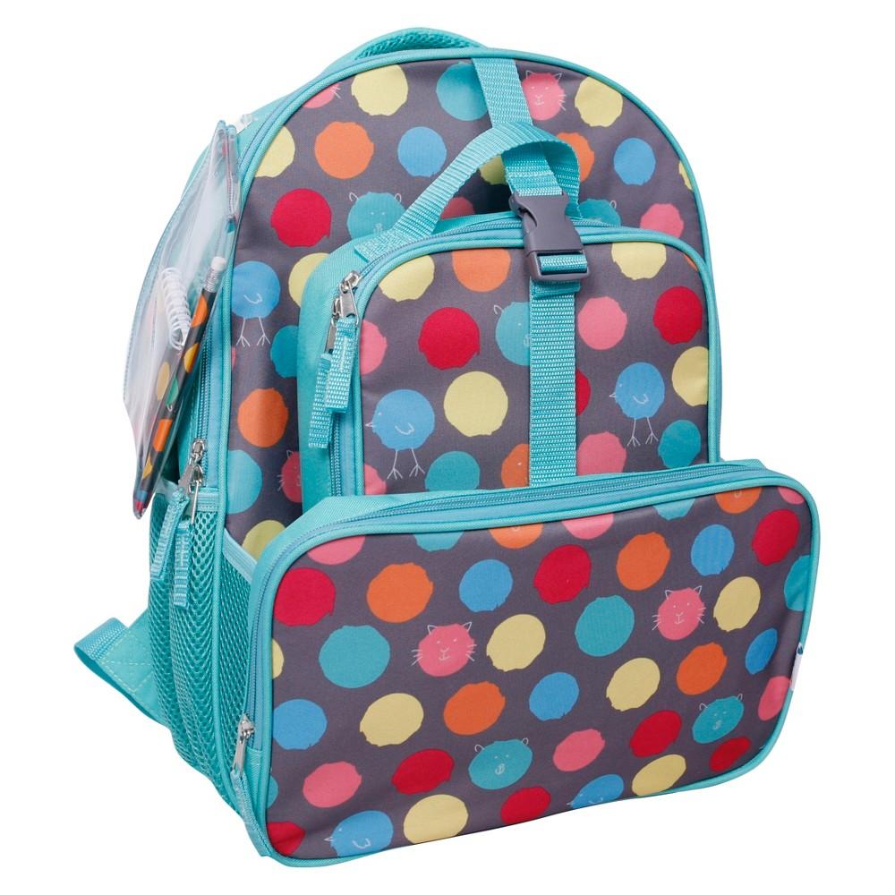 Crckt 16 Kids Backpack & Lunch Kit Combo Set, Grey/Red/Green