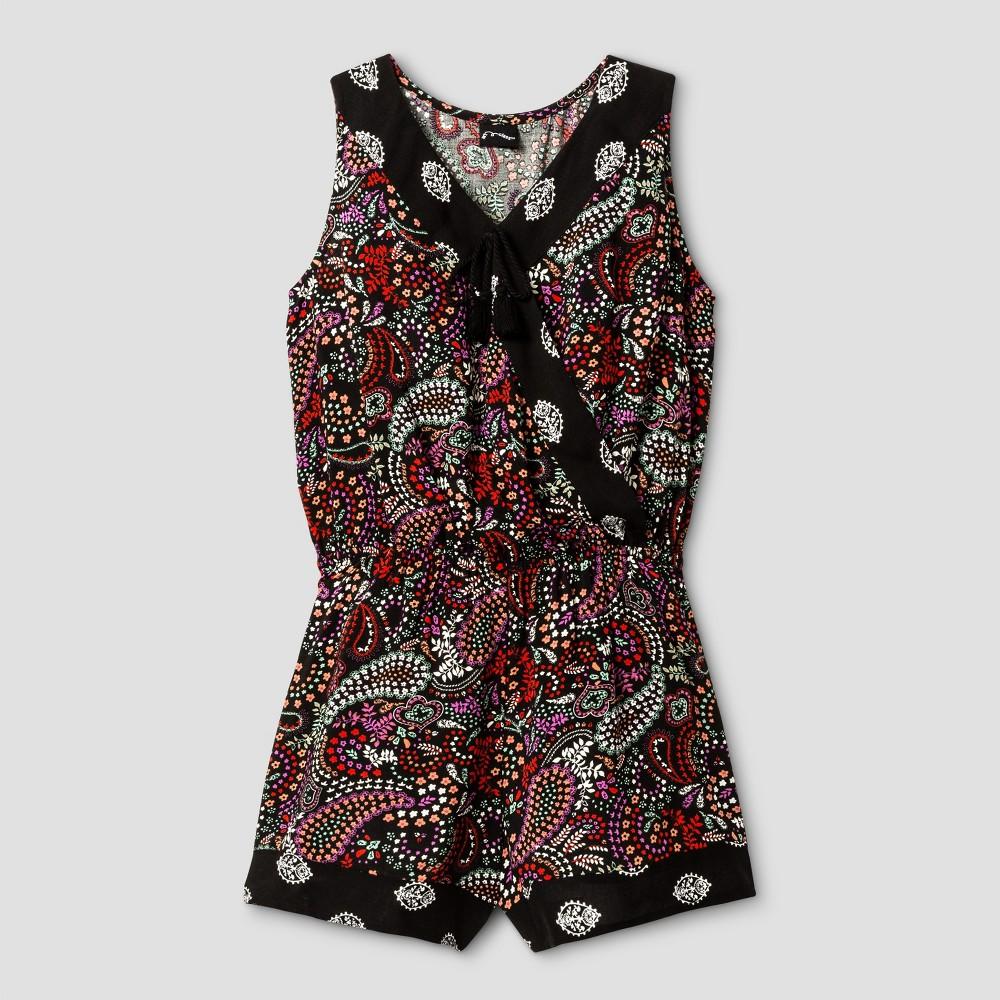 Girls Surplice Rompers - Art Class Hibiscus/Black M, Multicolored