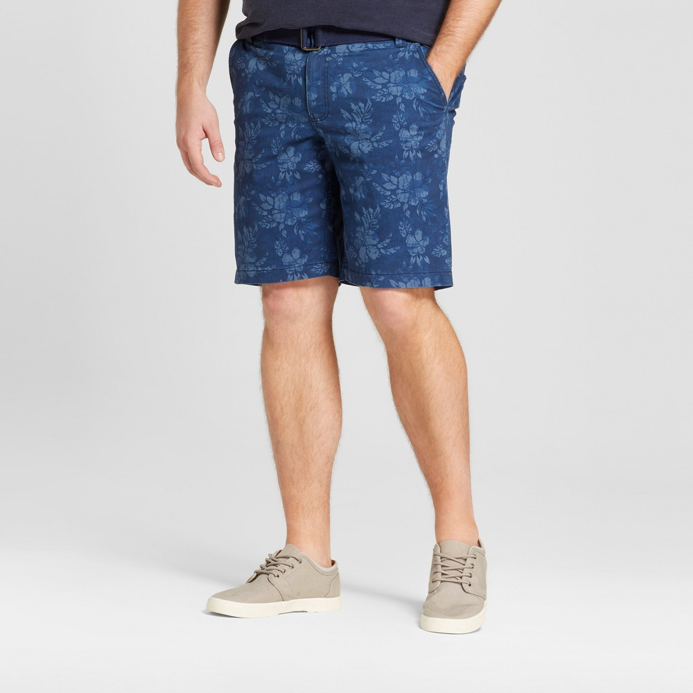 Mens Big & Tall Flat Front Shorts with Stretch - Mossimo Supply Co. Navy Floral 60, Blue