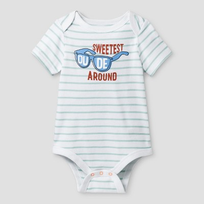 Baby Boys' Sweetest Dude Bodysuit - Cat & Jack™ Turquoise/White Stripe 6-9 Months