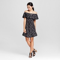 Women's Polka Dot Cold Shoulder Dress - Merona Black Dots. opens in a new tab.
