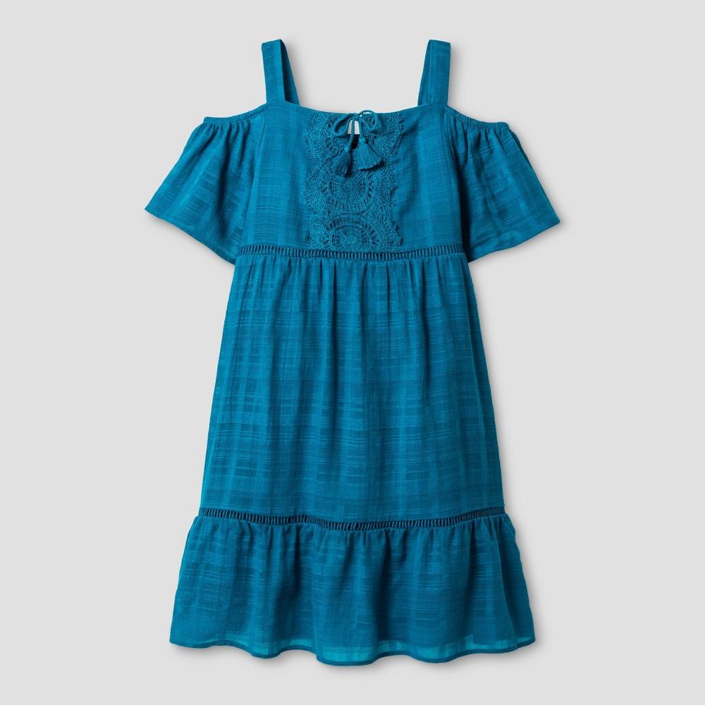 Girls Cold Shoulder Dress - Art Class Teal M, Blue