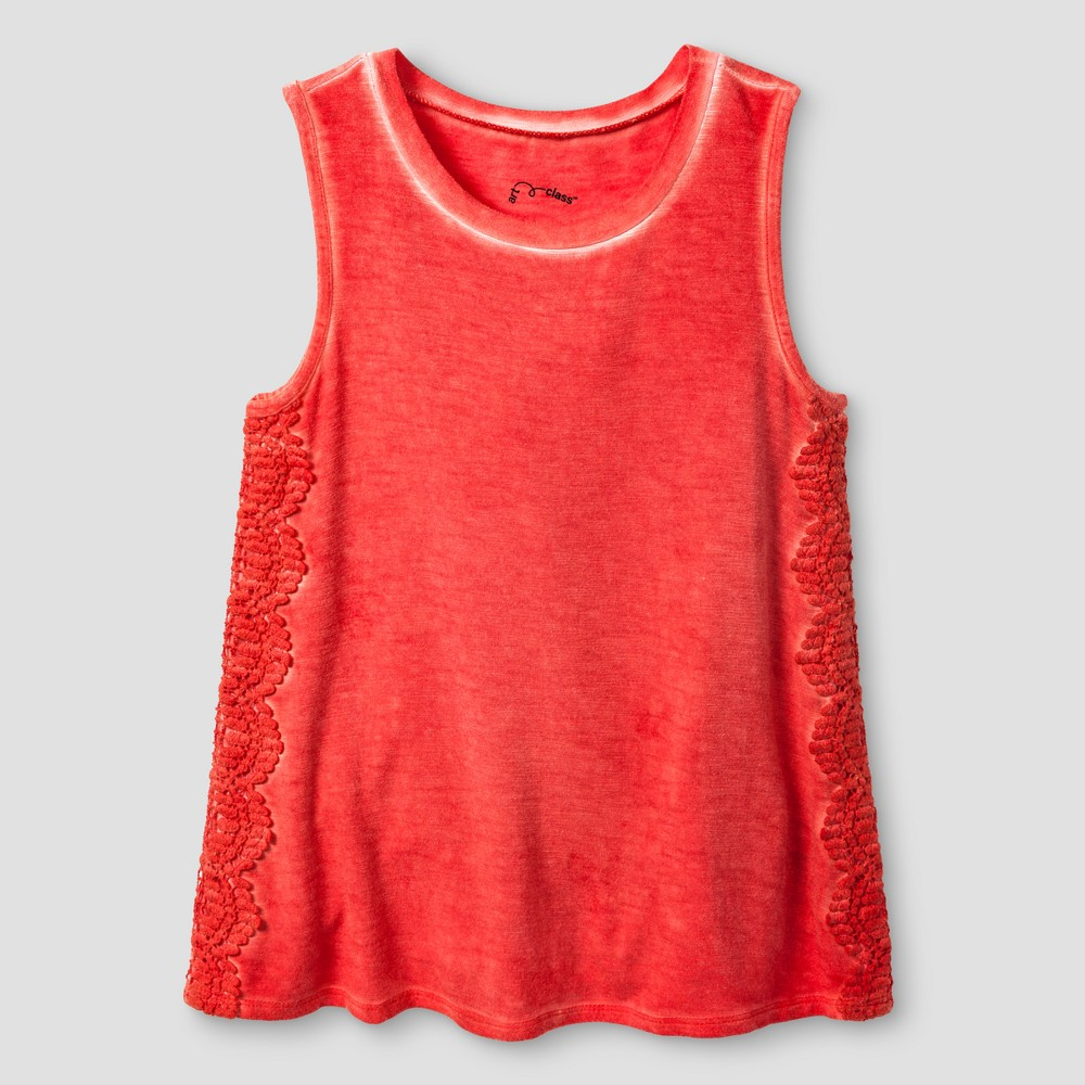 Girls Drapey Tank Top - Art Class Coral (Pink) XS