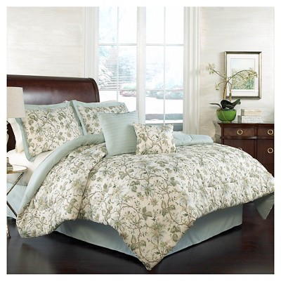 Green Floral Felicite Comforter Set (Queen)6pc - Traditions by Waverly®