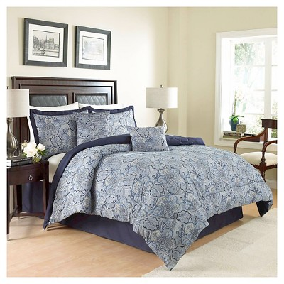 Blue Paisley Paddock Shawl Comforter Set (Queen)6pc- Traditions by Waverly®